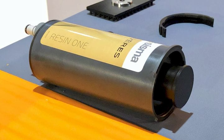 A proprietary resin cartridge for the Sisma Everes 3D printers [Source: Fabbaloo]
