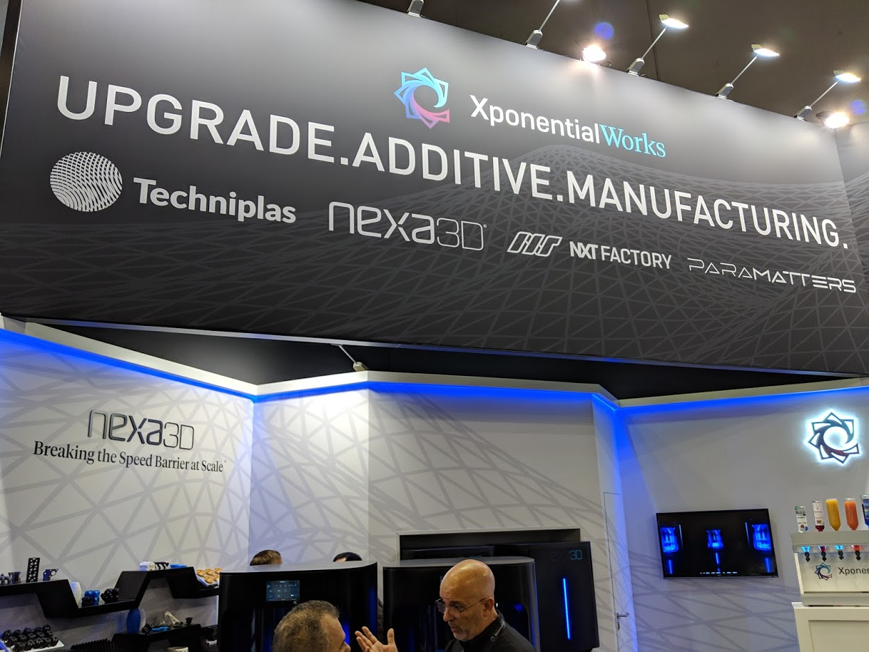 XponentialWorks at formnext 2018 with Techniplas, Nexa3D, NXT Factory, and ParaMatters [Image: Fabbaloo]