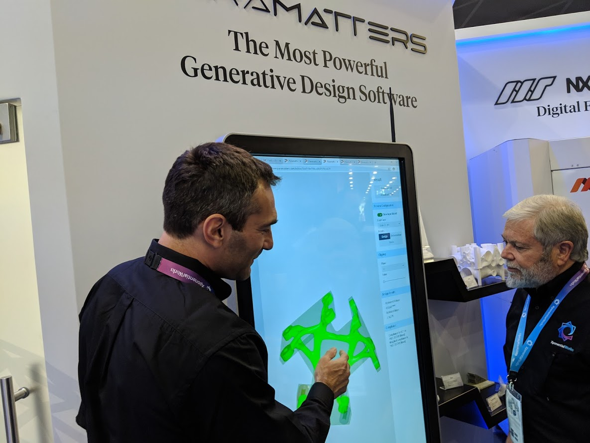 ParaMatters CTO Michael Bogomolny and XponentialWorks CEO Avi Reichental demonstrate CogniCAD software at formnext 2018 [Image: Fabbaloo]