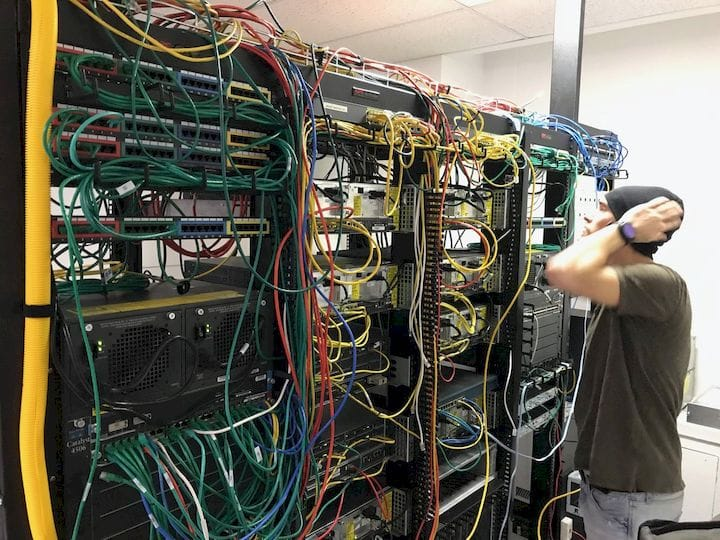 A typical data center cabling scenario: how do you keep track of and maintain all the connections? [Source: Glen Beer]