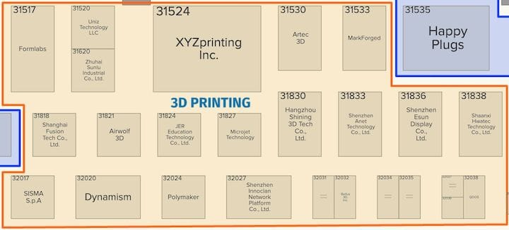 Tentative floor map for the 3D printing exhibitors at CES 2019 [Source: CES]