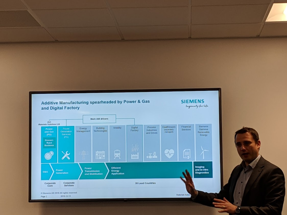 Markus Seibold, Vice President Additive Manufacturing, Siemens Power & Gas, discussing additive manufacturing focus at Siemens [Image: Fabbaloo]