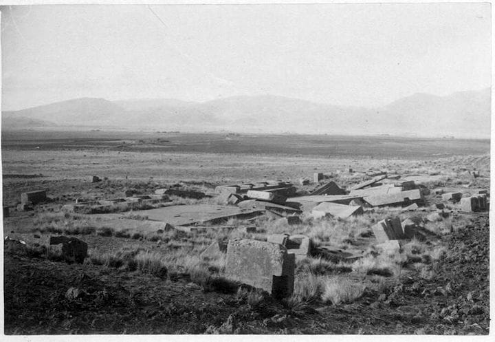 Not much left at the Pumapunka site, even in this 1893 photo [Source: Heritage Science Journal]