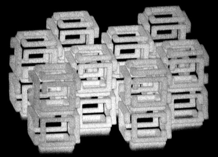 """A microscopic 3D print using a new process called """"ImpFab"""" [Source:  Science ]"""