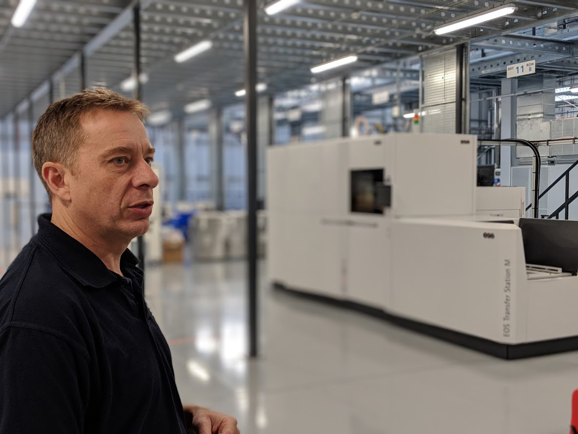 Materials Solutions has a long history with EOS and powder bed technologies, Phil explains [Image: Sarah Goehrke/Fabbaloo]