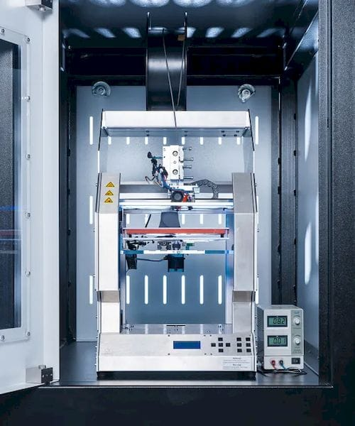 The 3D printing module of the Fusion Factory consists of an industrial 3D printer developed by a German manufacturer. (Image courtesy of Xerion.)