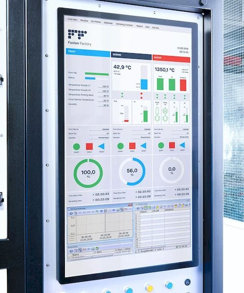 The large touchscreen interface of the Fusion Factory's control unit. (Image courtesy of Xerion.)