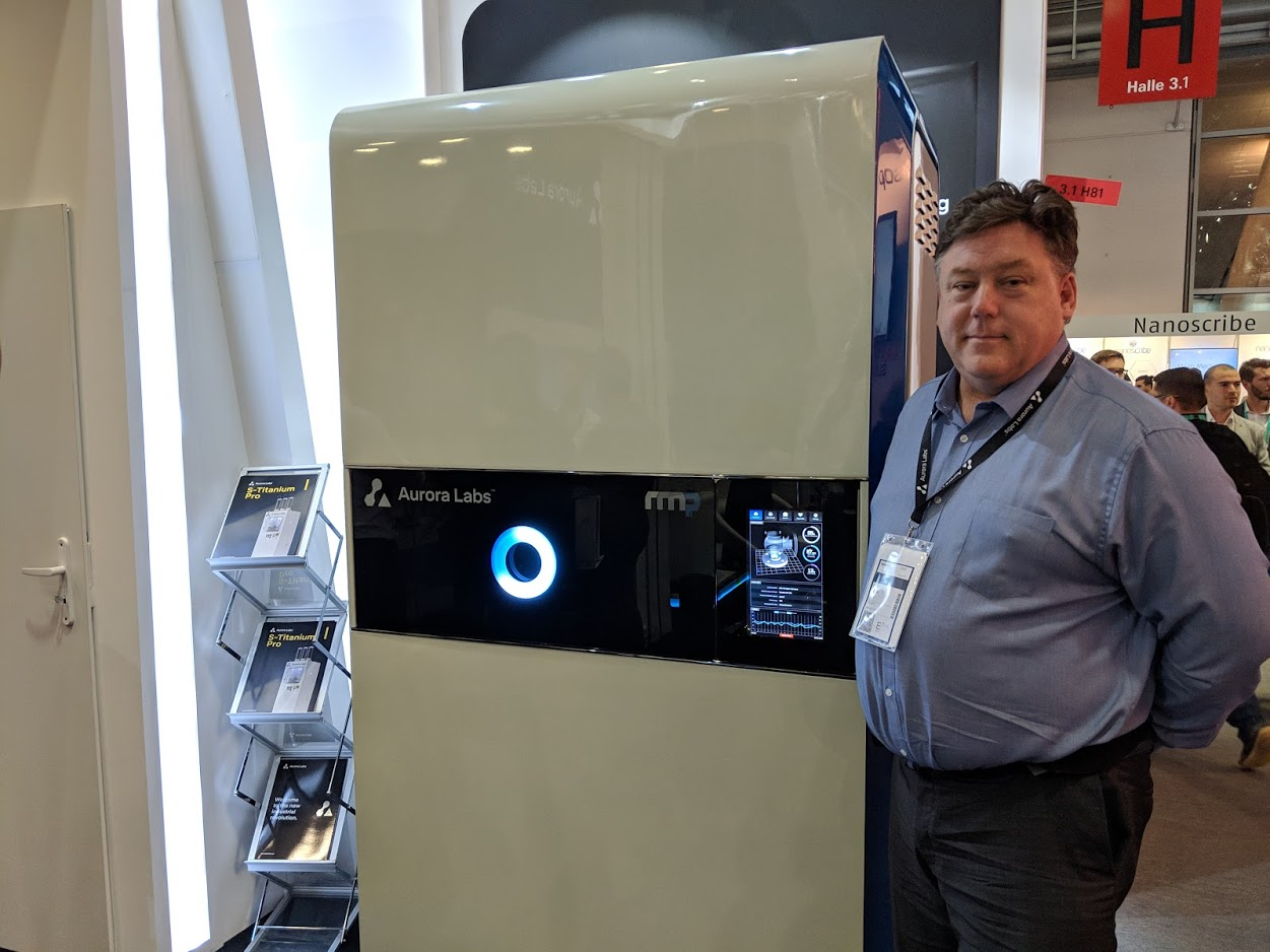 David Budge, Co-Founder and CEO, Aurora Labs at formnext 2018 [Image: Fabbaloo]