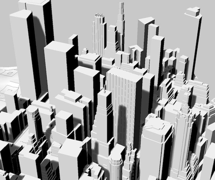 NYC skyline as generated by CADMAPPER [Source: Fabbaloo]