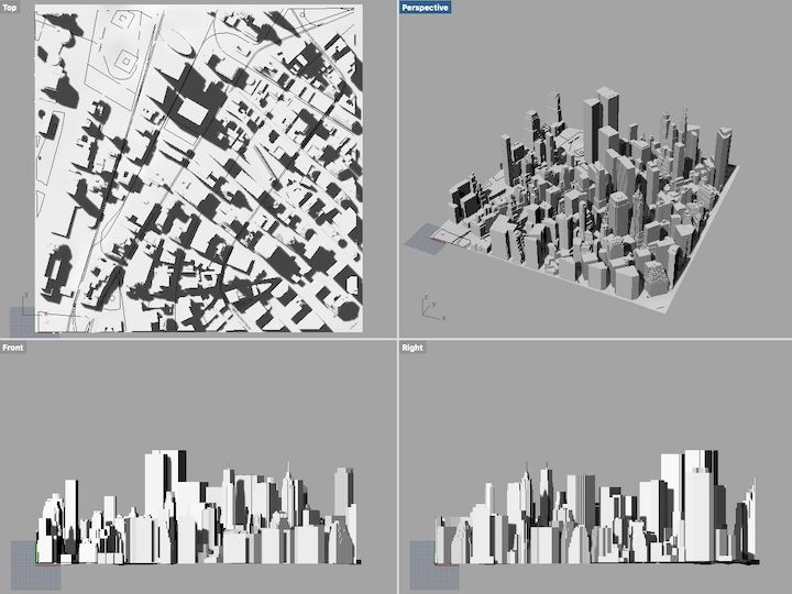 CADMAPPER section of NYC in 3D, viewed in Rhino3D [Source: Fabbaloo]