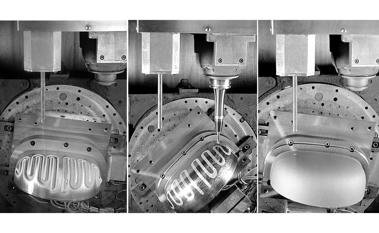 A complex conformal cooling part produced with the MPA process [Source: Hermle]