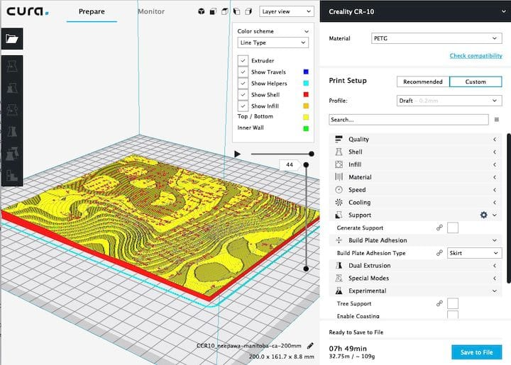 A sliced 3D model in Ultimaker Cura 3.6 [Source: Fabbaloo]