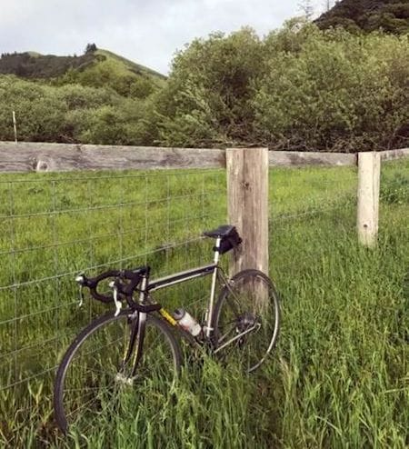 Splendor in the grass. The author's bike rests during a recent trip through Marin County, Calif. The diamond-shaped bike frame with tubular construction may be the optimum shape. Made of titanium, this bike has withstood a hundred thousand miles. It will, without a doubt, outlast and outlive its owner.
