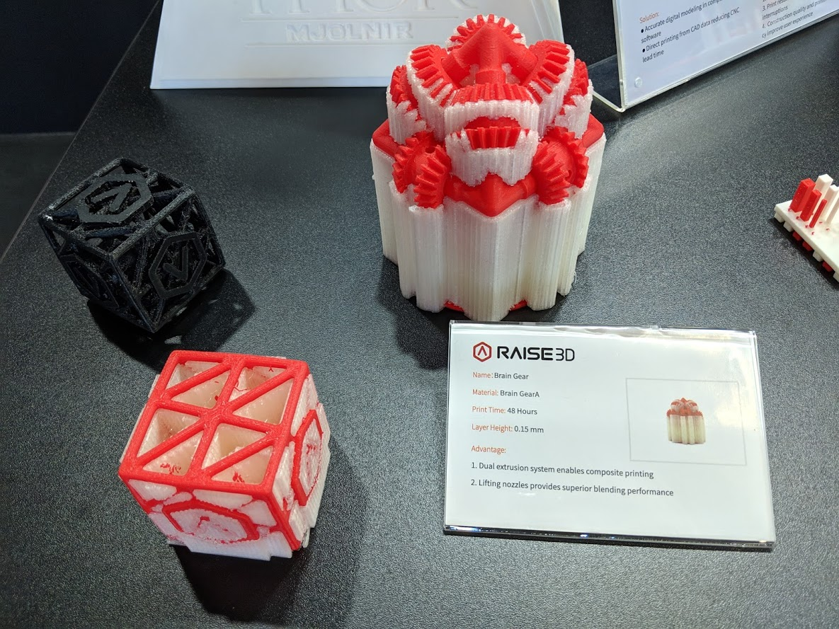 3D printed parts with supports from Raise3D [Image: Fabbaloo]