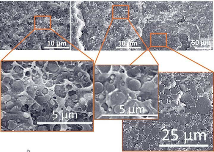 Microscopic view of 3D printed lignin and nylon composite [Source: ORNL]