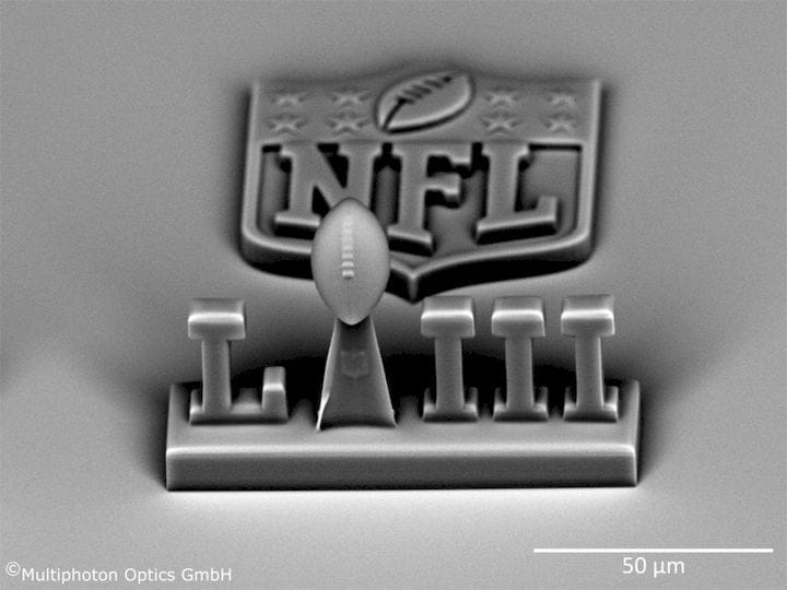 A very small, high-resolution NFL-themed 3D print made on the LithoProf3D [Source: Multiphoton Optics]