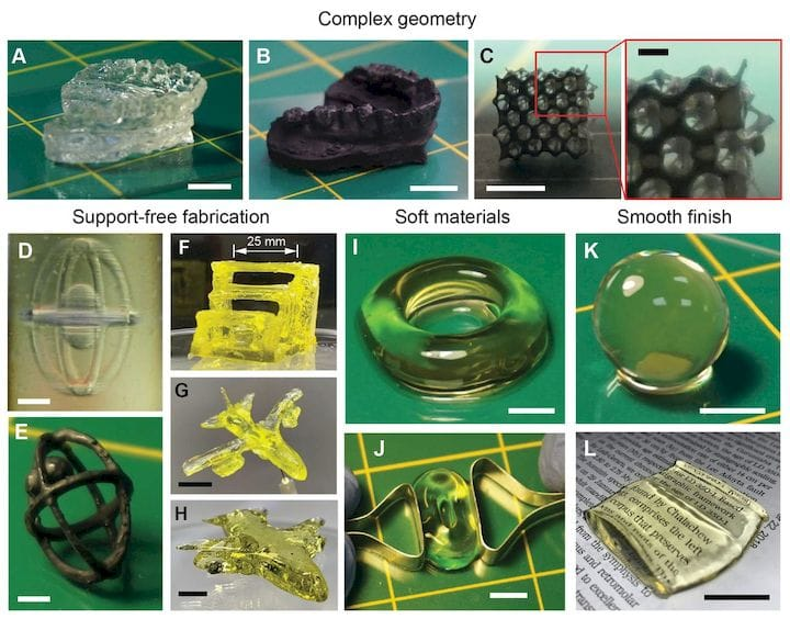 Samples of 3D prints made with the CAL process [Source: UC Berkeley]