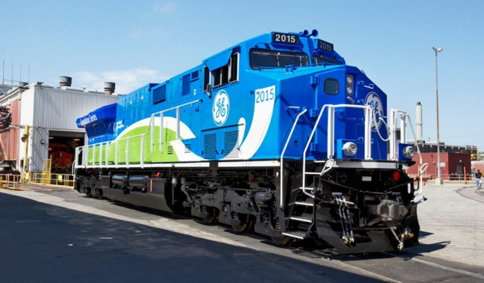 GE is developing cleaner and more efficient train engines ( Source )