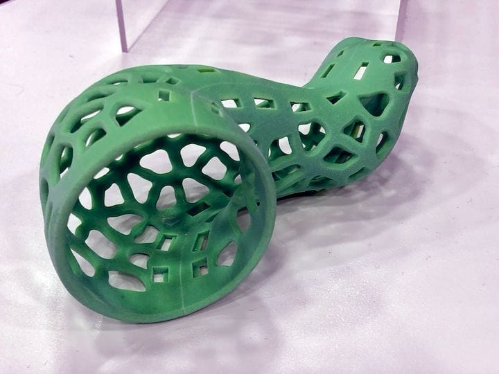 A 3D printed medical cast made on the Stratasys J750 [Source: Fabbaloo]