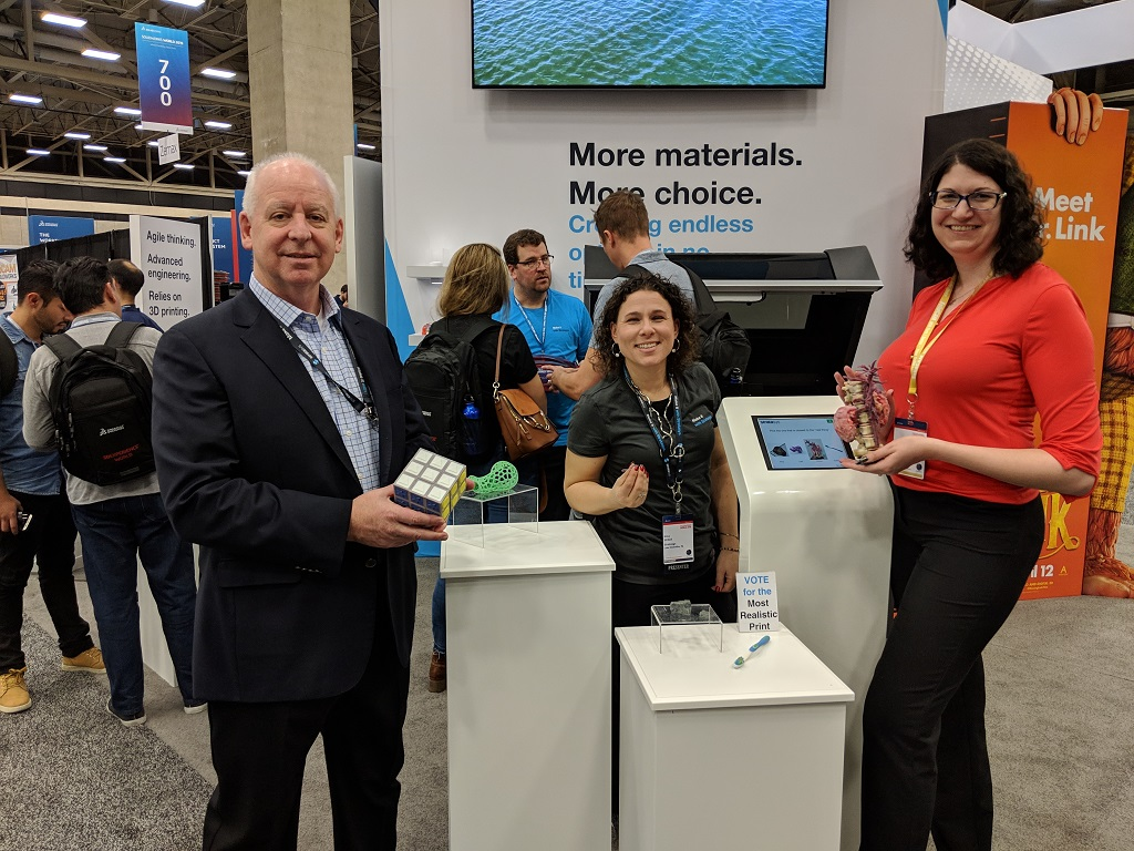 Make it Real judges with some of the 3D printed entries (L-R): Pat Carey, SVP Americas, Stratasys; Gina Scala, Director of Global Education, Stratasys; Sarah Goehrke, Managing Editor, Fabbaloo [Image: Fabbaloo]