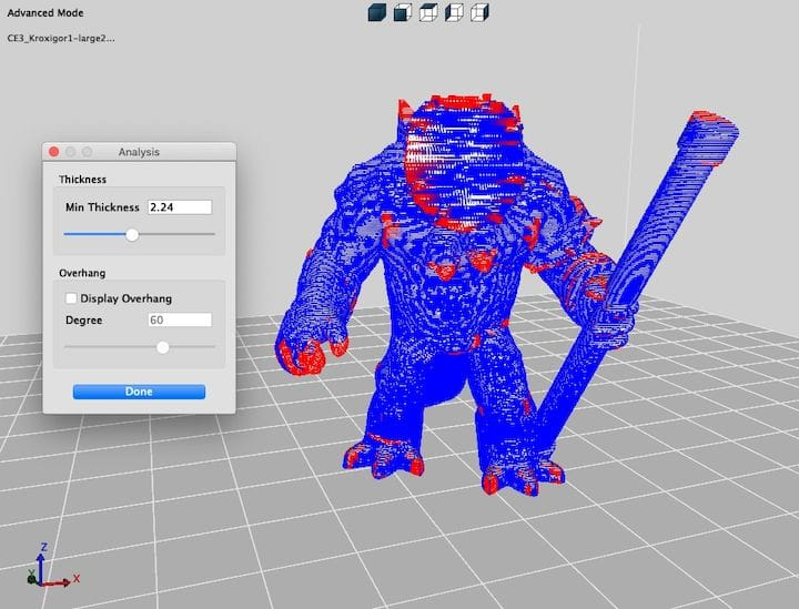Analyzing the thickness of a 3D model in real time using 3DWOX Desktop [Source: Fabbaloo]