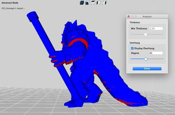 Analyzing the effect of different overhang angles on a 3D model in real time using 3DWOX Desktop [Source: Fabbaloo]