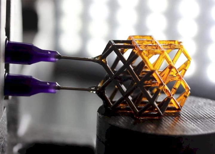 Ferromagnetic nanoparticles are injected into the 3D-printed structure before it is exposed to magnetic waves. (Image courtesy of Jule Mancini|LLNL.)