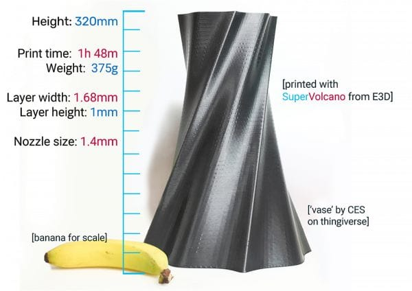 Sample 3D print made with the SuperVolcano hot end [Source: E3D-Online]
