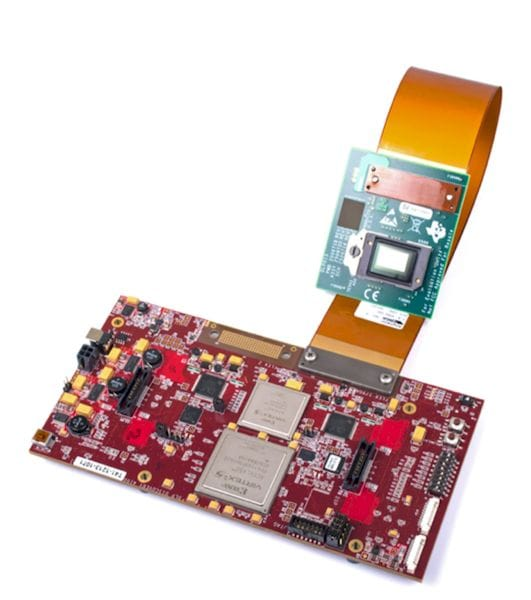The DMD chipset and controller are available as single evaluator modules or can be purchased in bulk. (Image courtesy of Texas Instruments.)