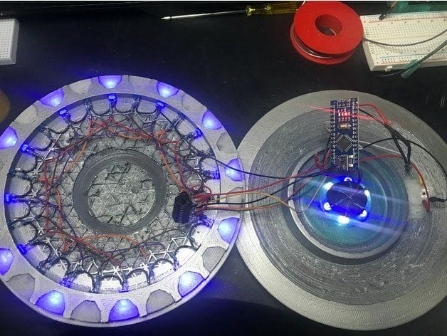 Considerable wiring required to implement the 3D printed UFO abduction lamp [Source: Thingiverse]