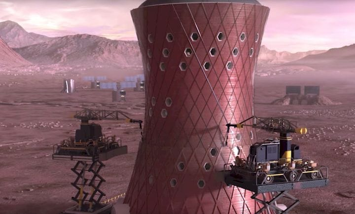 Concept of NASA's 3D Printed Habitat competition under construction on Mars [Source: NASA]