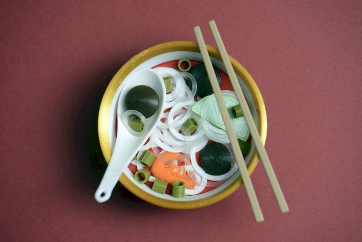 Incredibly realistic 3D print of a bowl of pho [Source: Eric Au]