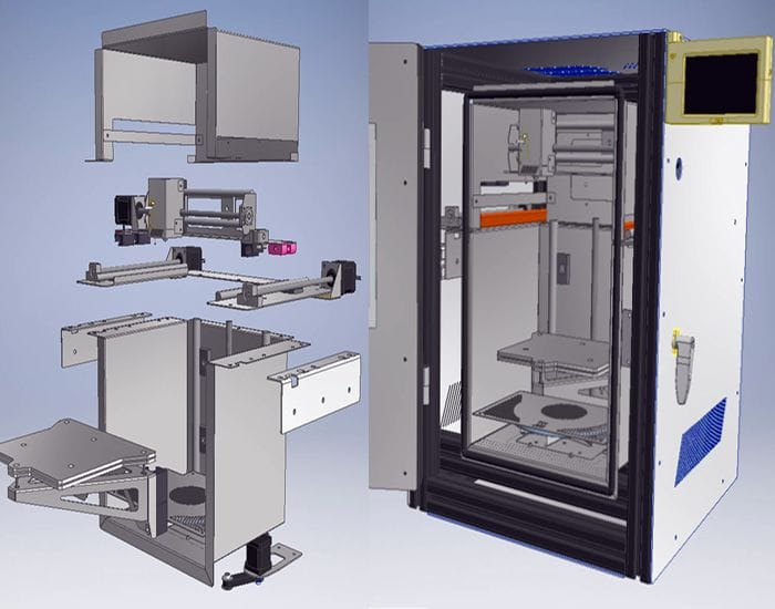 Exploded view of the make-it-yourself high-temperature 3D printer [Source: igus GmbH]