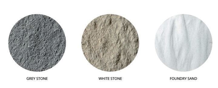 Standard stone 3D printing materials for the Armadillo printers [Source: Concr3de]