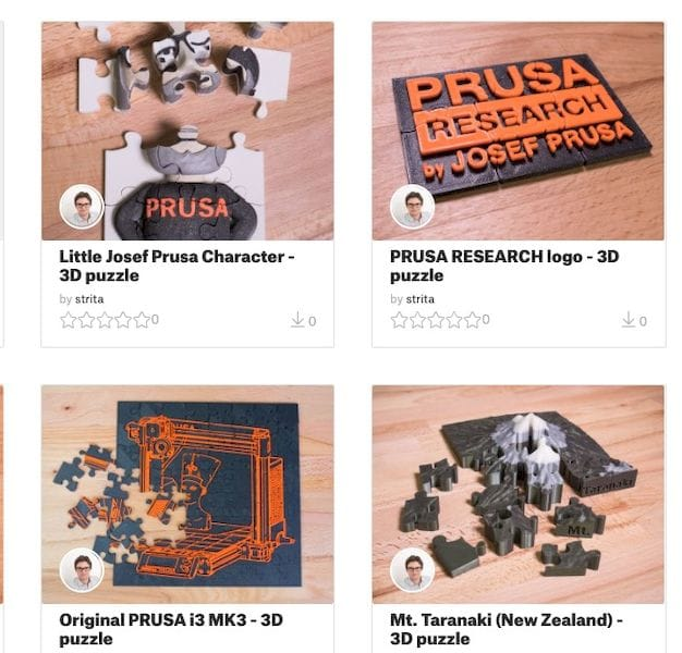 Some new 3D models uploaded to Prusa's Model Marketplace [Source: PrusaPrinters]