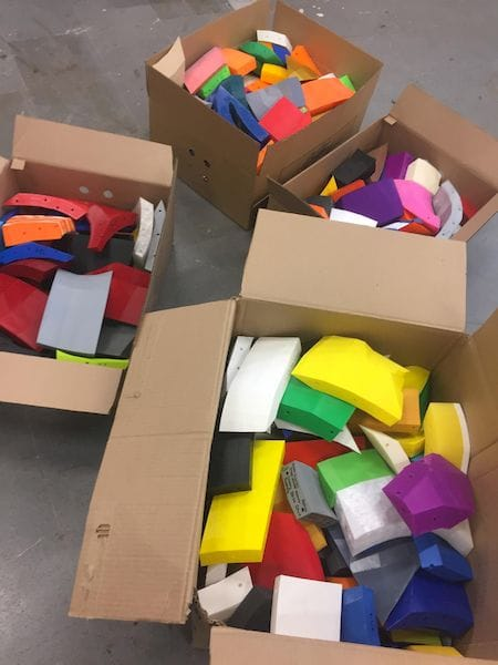 Boxes of 3D printed parts for the Great Duck Project [Source: Reddit]