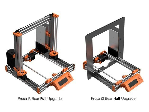 Comparing the full and half Bear Upgrade for Prusa 3D printers [Source: Thingiverse]