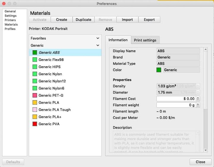 Material selection possibilities on the Kodak Portrait 3D printer [Source: Fabbaloo]