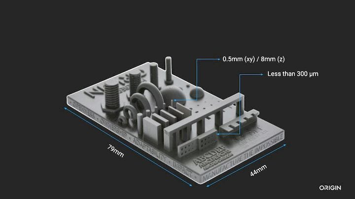 Sample high-resolution test print showing dimensions from the Origin One [Source: Origin]