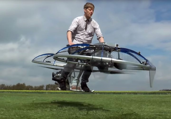 Supermaker Colin Furze riding a home-built hoverbike [Source: YouTube]