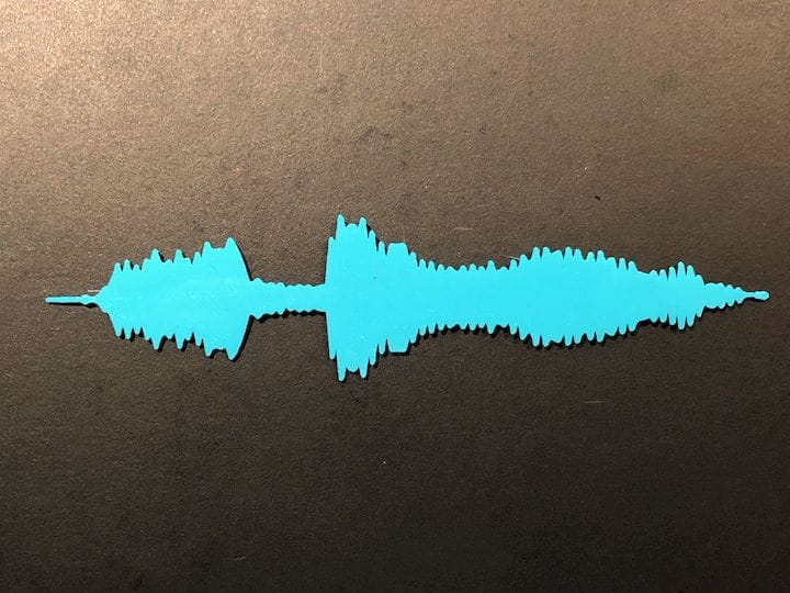 "A 3D print of us saying ""Fabbaloo"", or at least the waveform of that word [Source: Fabblaoo]"