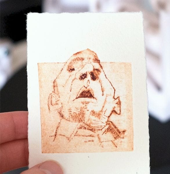 Sample 2D print from the 3D printed Printmaking Press [Source: Open Press Project]