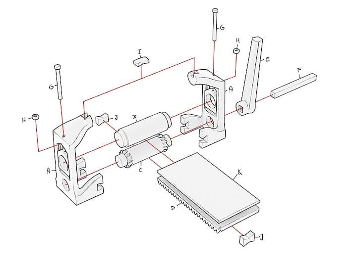 Exploded view of the printable parts for the 3D printed Printmaking Press [Source: Open Press Project]