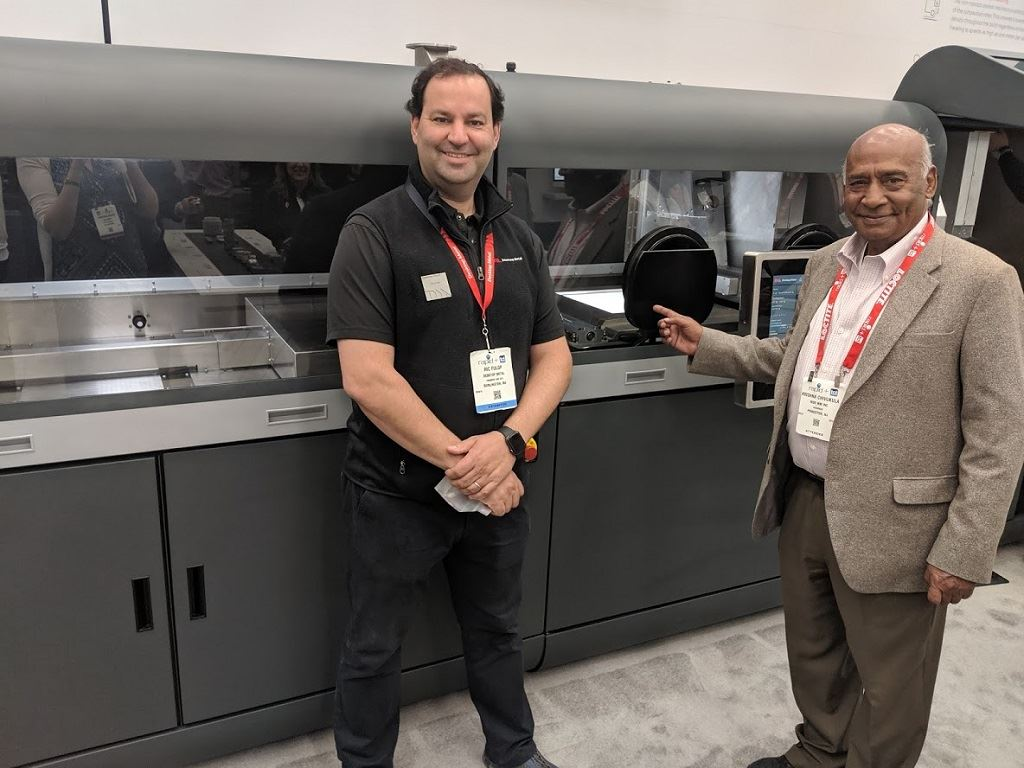 Ric Fulop (left), Dr. Krishna Chivukula, and a Production System [Image: Fabbaloo]
