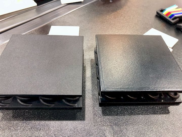 Dye Mansion's new VaporFuse system smoothed the 3D print at right [Source: Fabbaloo]