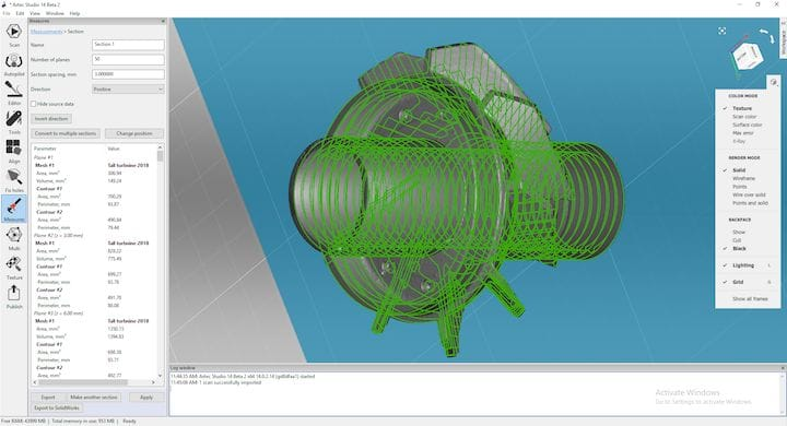 Artec Studio 14 identifies curves in 3D scanned geometry [Source: Artec 3D]