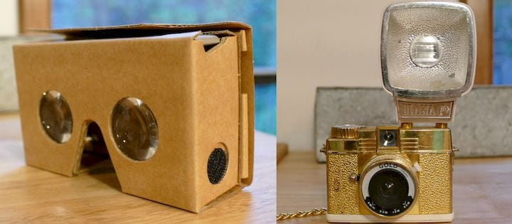 Examples of devices with imaging optics: Google Cardboard and an old-timey camera. [Source: SolidSmack]