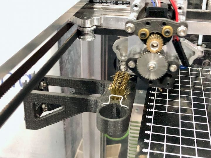 Nozzle cleaning system on the E3D tool-changing 3D printer [Source: Fabbaloo]
