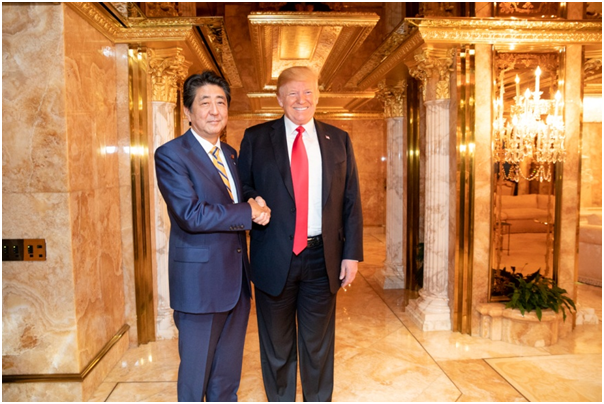 Japanese Prime Minister Abe (left) and U.S. President Trump (right) [Source:  Flickr ]