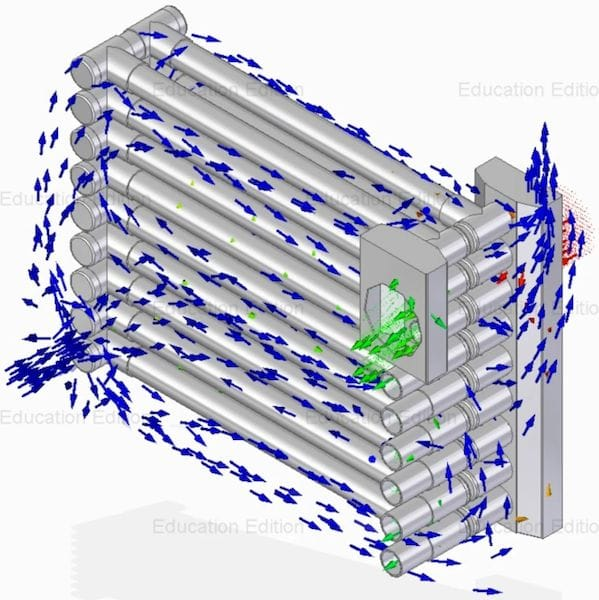 A FloEFD simulation of two high school students' water-saving automotive heat exchanger. (Image courtesy of Tucker Sawyer.)